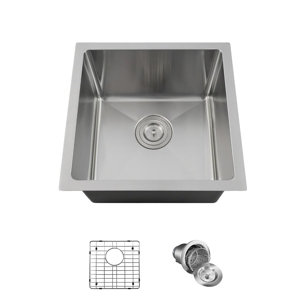 All In One Undermount Stainless Steel 17 Single Bowl Kitchen Sink