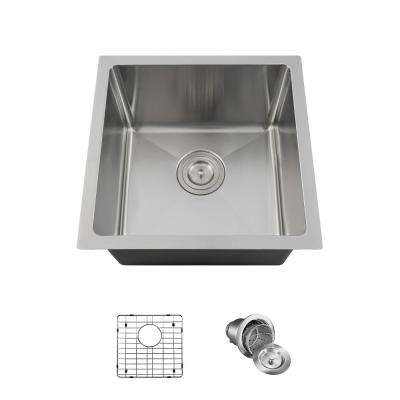 All-in-One Undermount Stainless Steel 17 in. Single Bowl Kitchen Sink