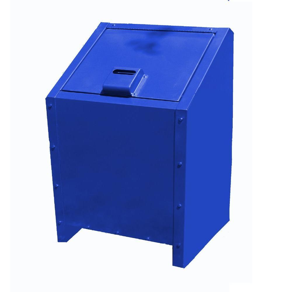 Paris 34 Gal Metal Animal Proof Trash Can In Blue 461 311