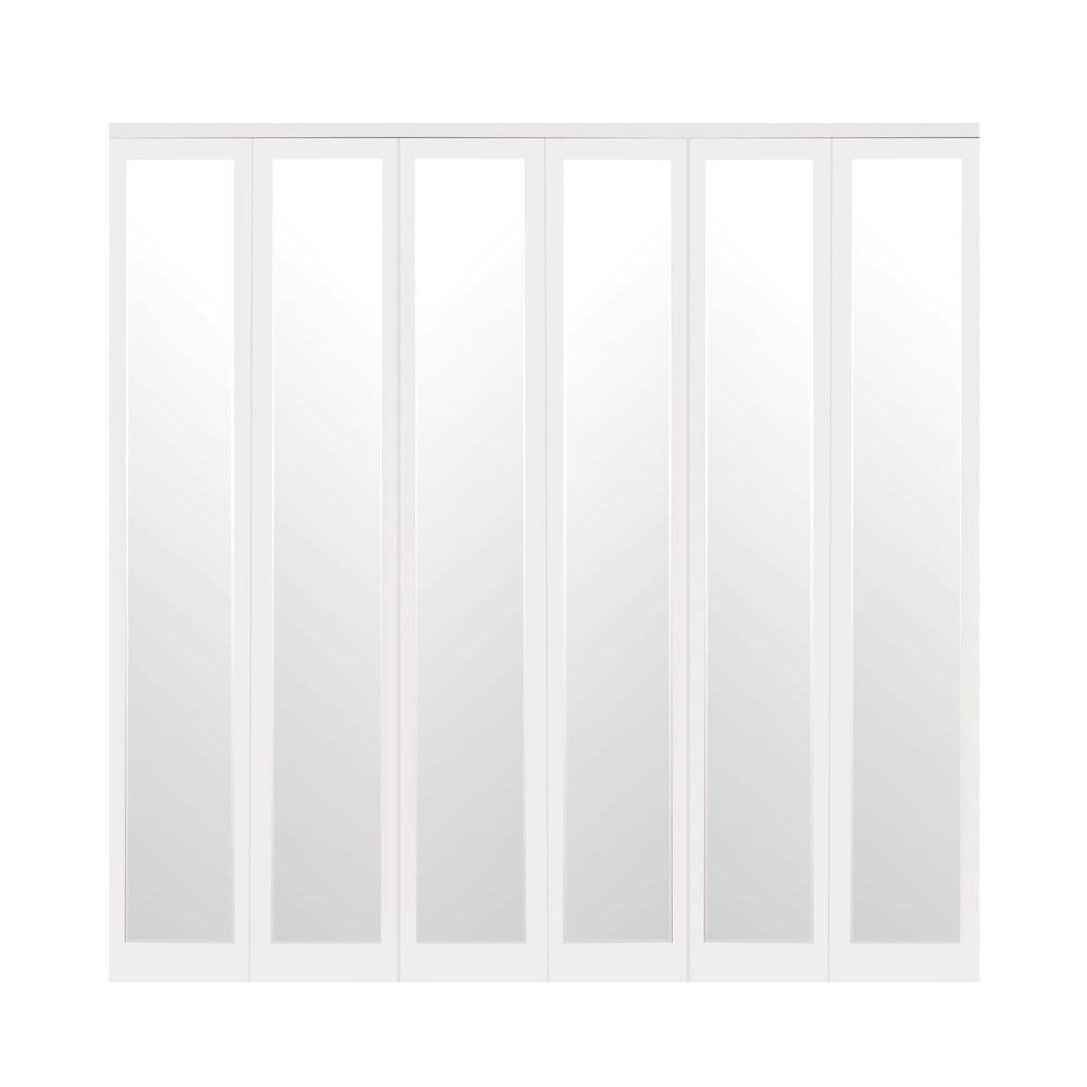 Mir-Mel Primed Mirror Trim Solid MDF Interior Closet Bi-fold Door