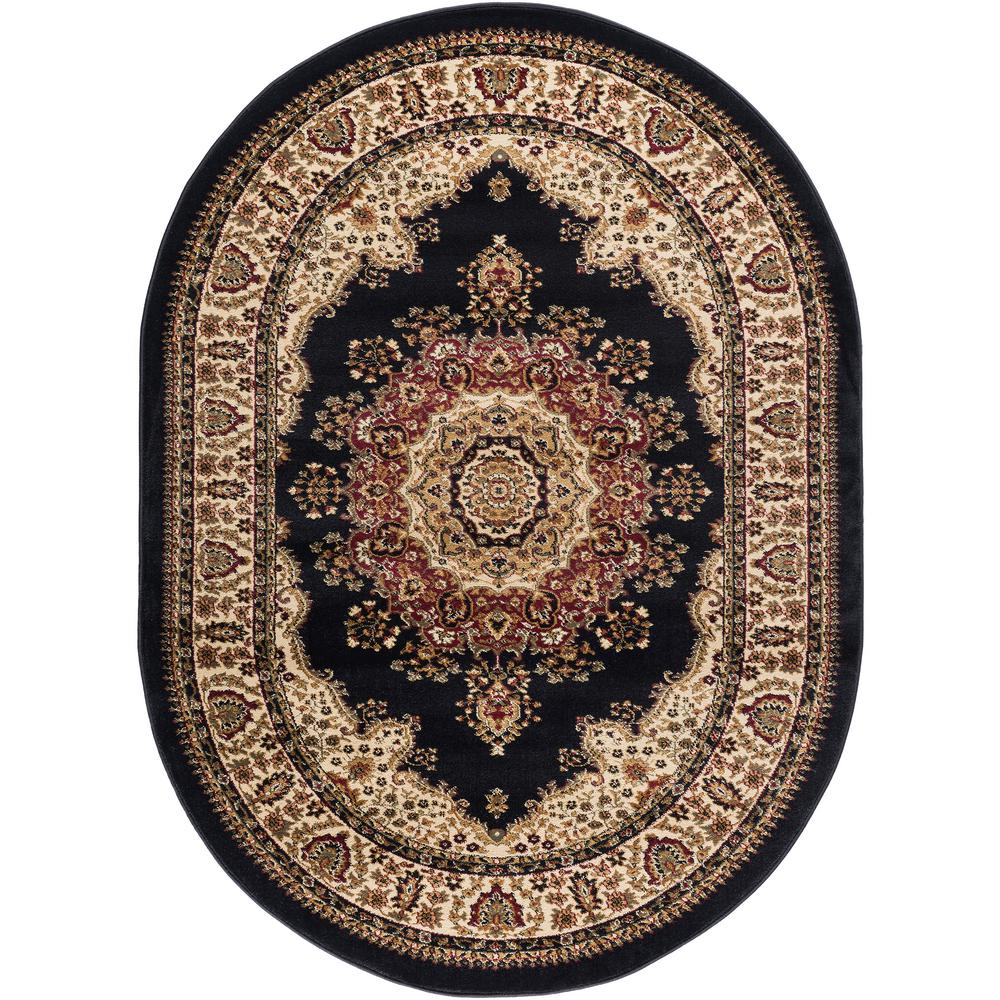 Tayse Rugs Sensation Black 5 Ft. X 7 Ft. Oval Traditional