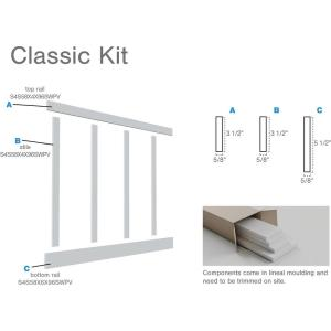 5/8 in. X 96 in. X 32 in. Expanded Cellular PVC Classic Shaker Moulding Kit (for heights up to 32''H)