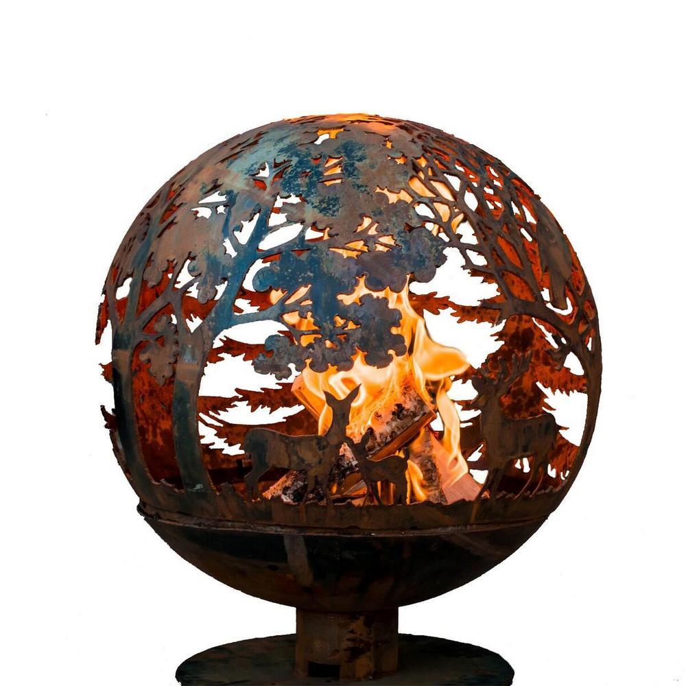 Esschert Design Wildlife 32 in. x 36 in. Round Steel Wood Burning Fire Pit in Rust