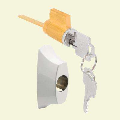 Sliding Door Keyed Locking Unit in White Die cast, 1-27/32 in. Hole Centers