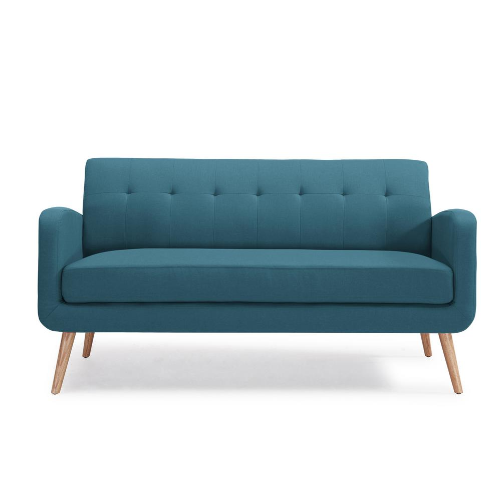 Kingston Mid Century Modern Sofa in Caribbean Blue Linen with Natural