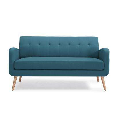 Kingston Mid Century Modern Sofa in Caribbean Blue Linen with Natural Legs