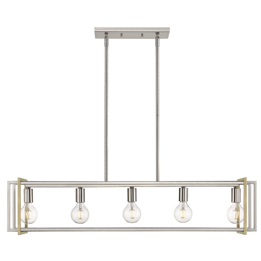 Golden Lighting Tribeca 5-Light Pewter with Aged Brass Accents Linear Pendant