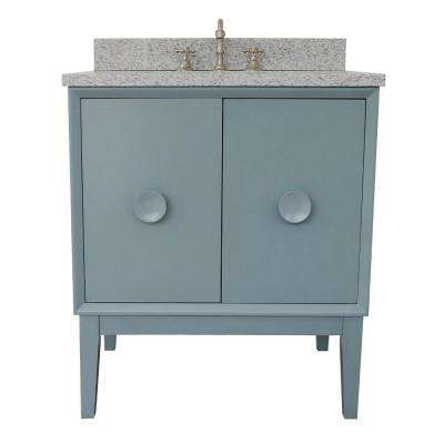 Stora 31 in. W x 22 in. D Bath Vanity in Aqua Blue with Granite Vanity Top in Gray with White Rectangle Basin
