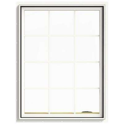 36 in. x 48 in. W-2500 Series White Painted Clad Wood Right-Handed Casement Window with Colonial Grids/Grilles