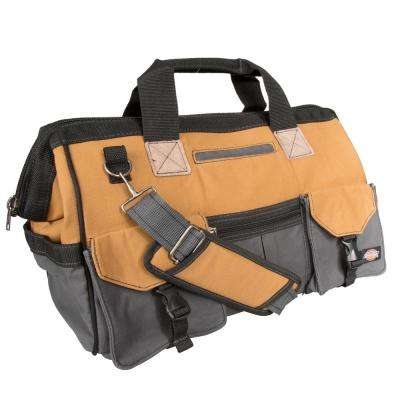 18 in. Soft Sided Construction Work Tool Bag, Grey/Tan