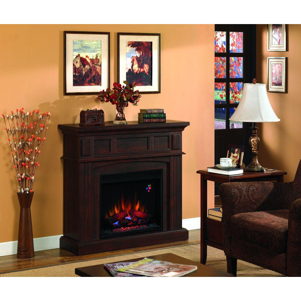 Hampton Bay 41 in. Electric Fireplace in Cherry-DISCONTINUED