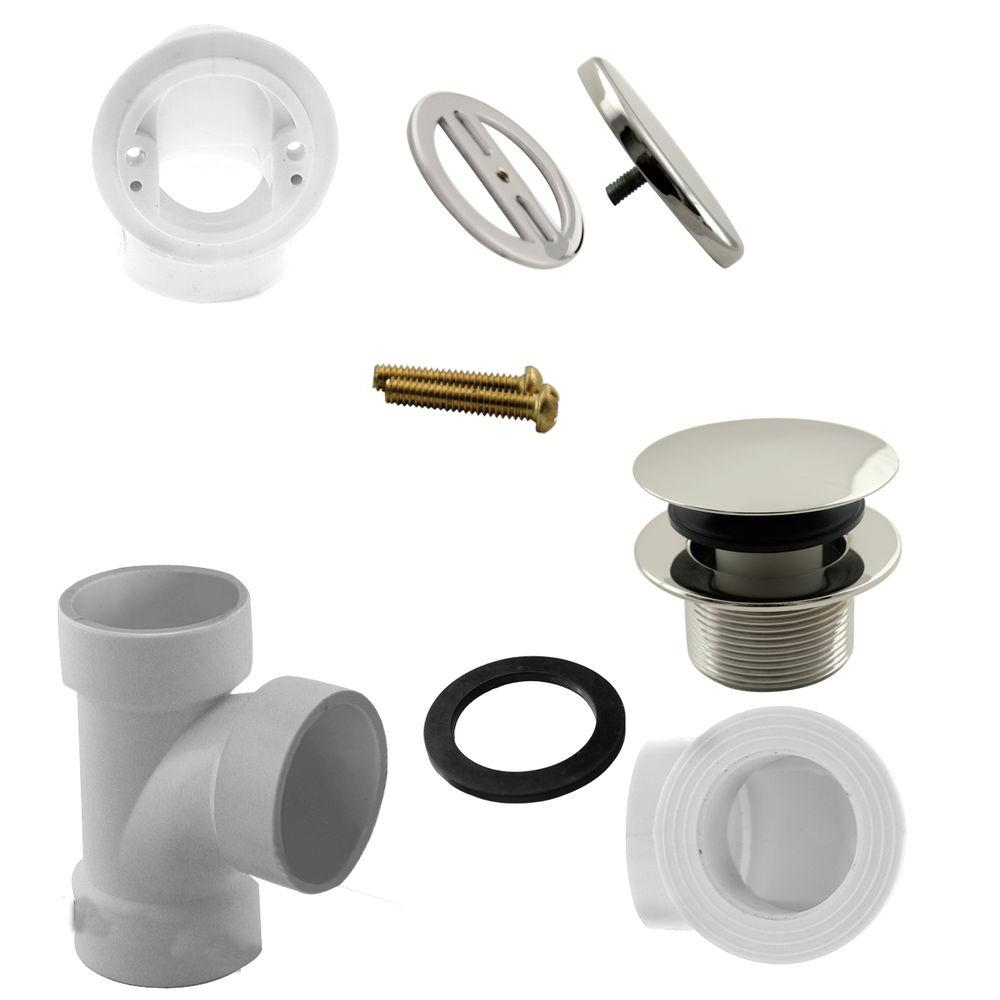 Illusionary Overflow Sch 40 Pvc Plumbers Pack With Tip Toe Bath Drain In Polished Nickel D593prk 05 The Home Depot