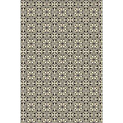 Quad European Design  2ft x 3ft Black & White Indoor/Outdoor vinyl rug.