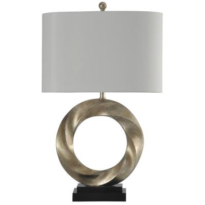 30 in. Silver Table Lamp with White Hardback Fabric Shade