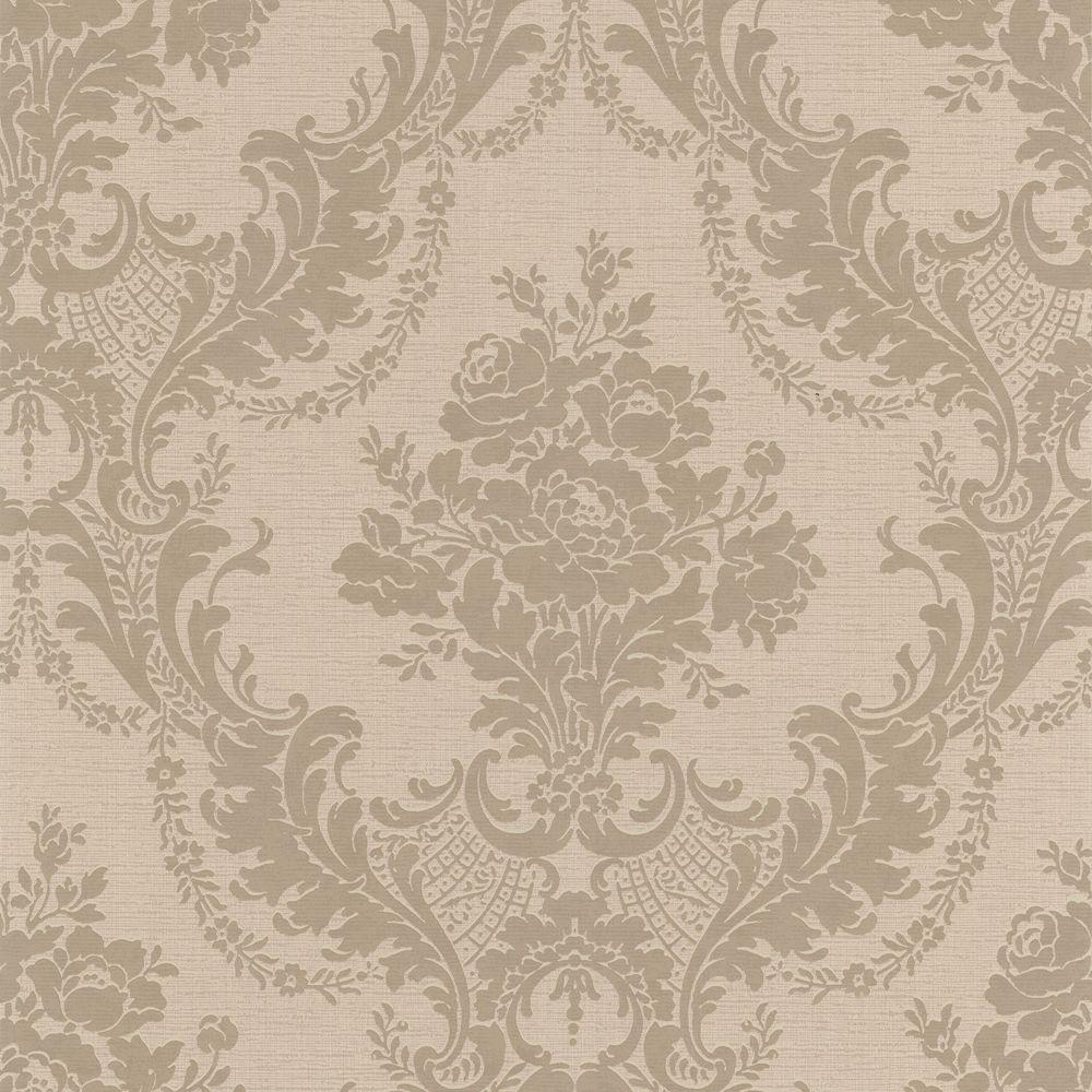 null 56 sq. ft. Trianon Taupe Damask Wallpaper