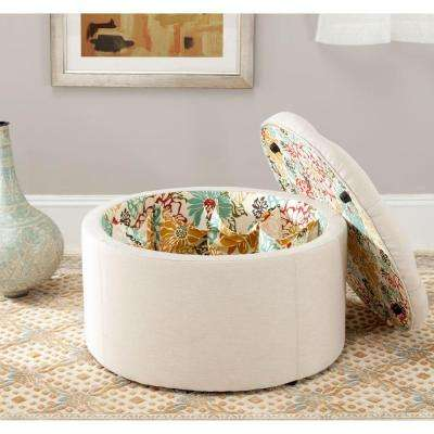 Tanisha Off White Storage Ottoman