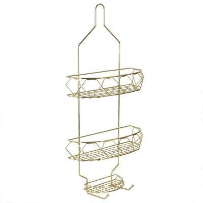 Prism 2 Tier Shower Caddy with Built-In Hooks in Gold