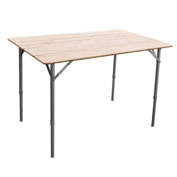 AmeriHome 39.35 in. x 25.5 in. Adjustable Height Folding Bamboo Table with Carry Bag Great for Picnics in the Park