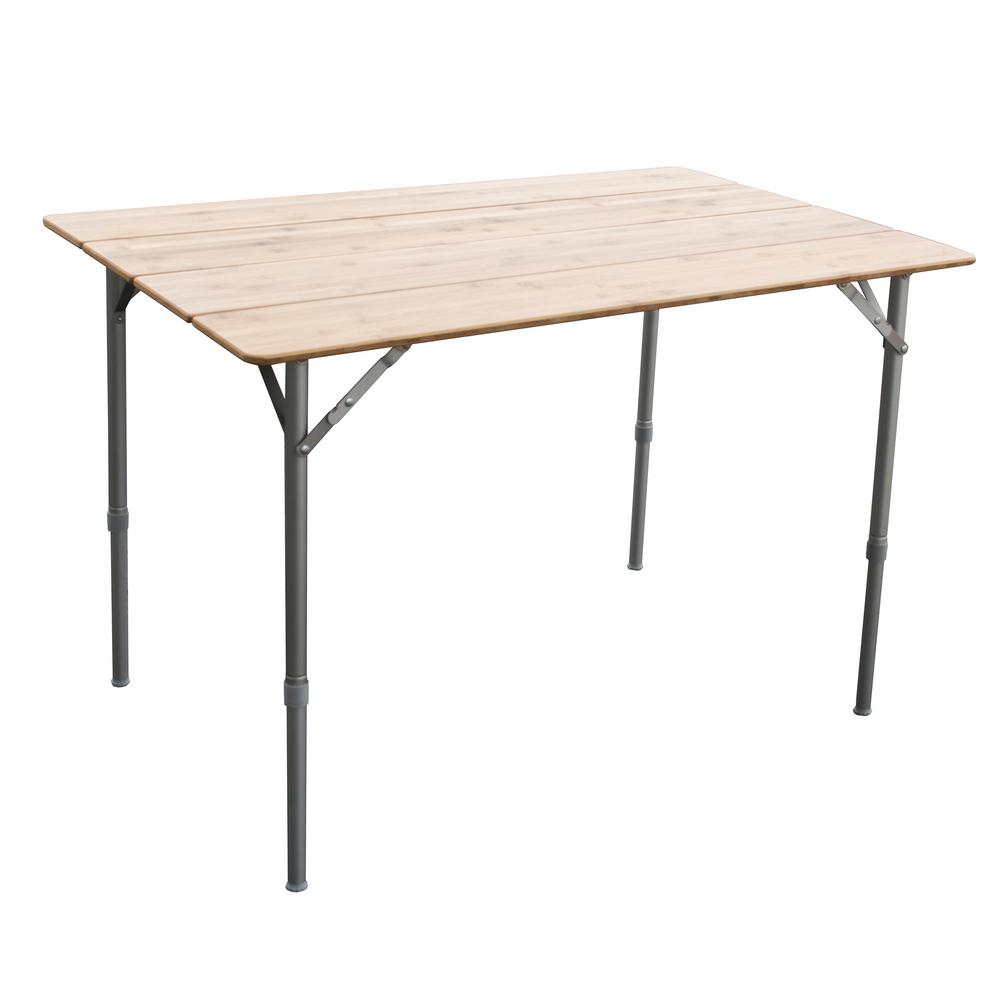 Adjule Height Folding Bamboo Table With Carry Bag Great For Picnics In The Park 803693 Home Depot
