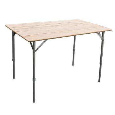 39.35 in. x 25.5 in. Adjustable Height Folding Bamboo Table with Carry Bag Great for Picnics in the Park