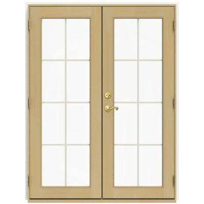 60 in. x 80 in. W-2500 White Clad Wood Left-Hand 8 Lite French Patio Door w/Unfinished Interior