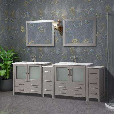 Brescia 96 in. W x 18 in. D x 36 in. H Bathroom Vanity in Grey with Double Basin Top in White Ceramic and Mirrors
