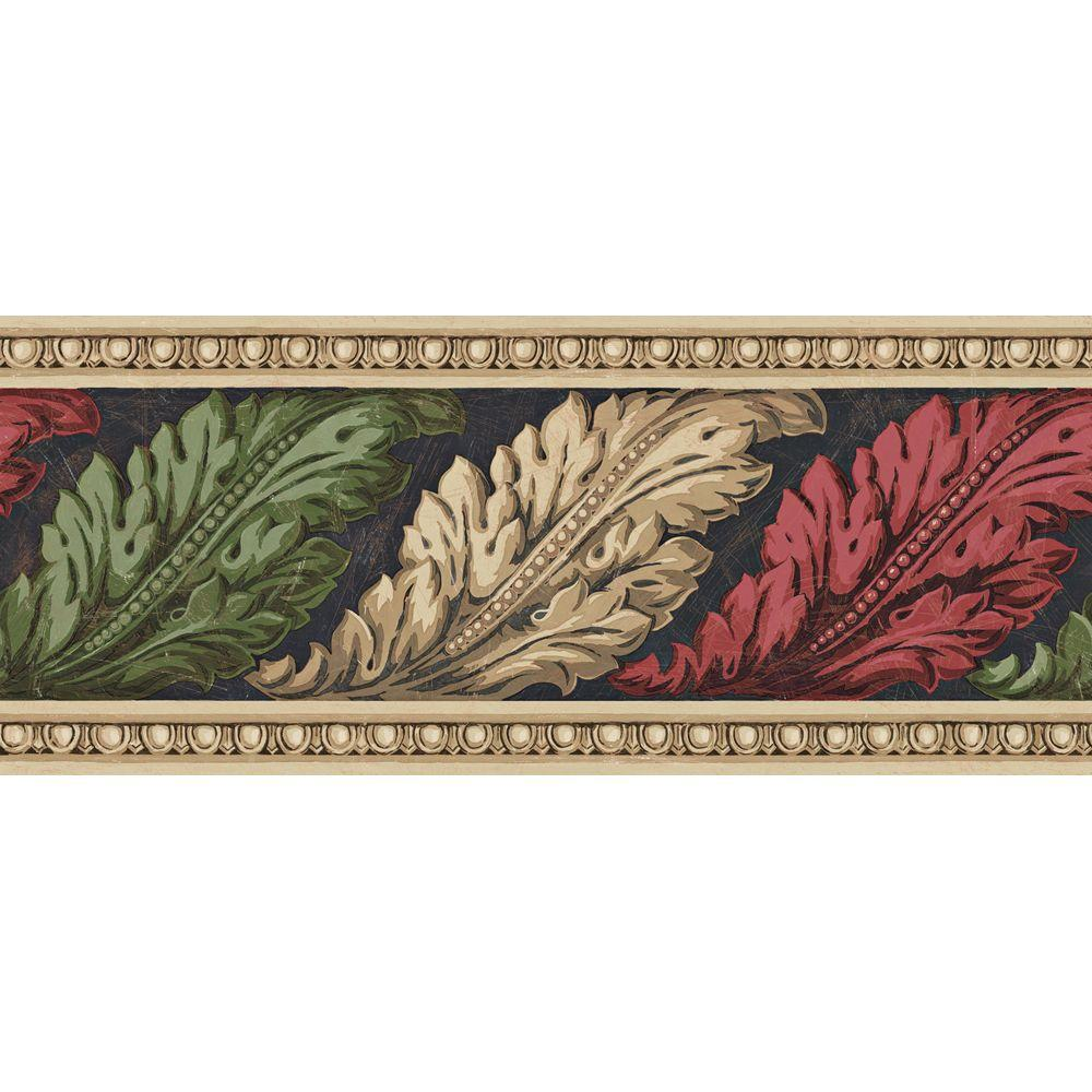 The Wallpaper Company 8.72 in. x 15 ft. Jewel Tone Architectural Leaves Border-DISCONTINUED