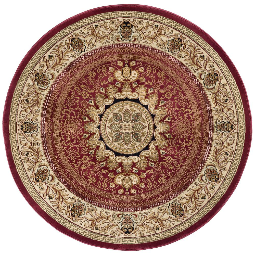 Tayse Sensation Red 7 ft. 10 in. Traditional Round Area Rug