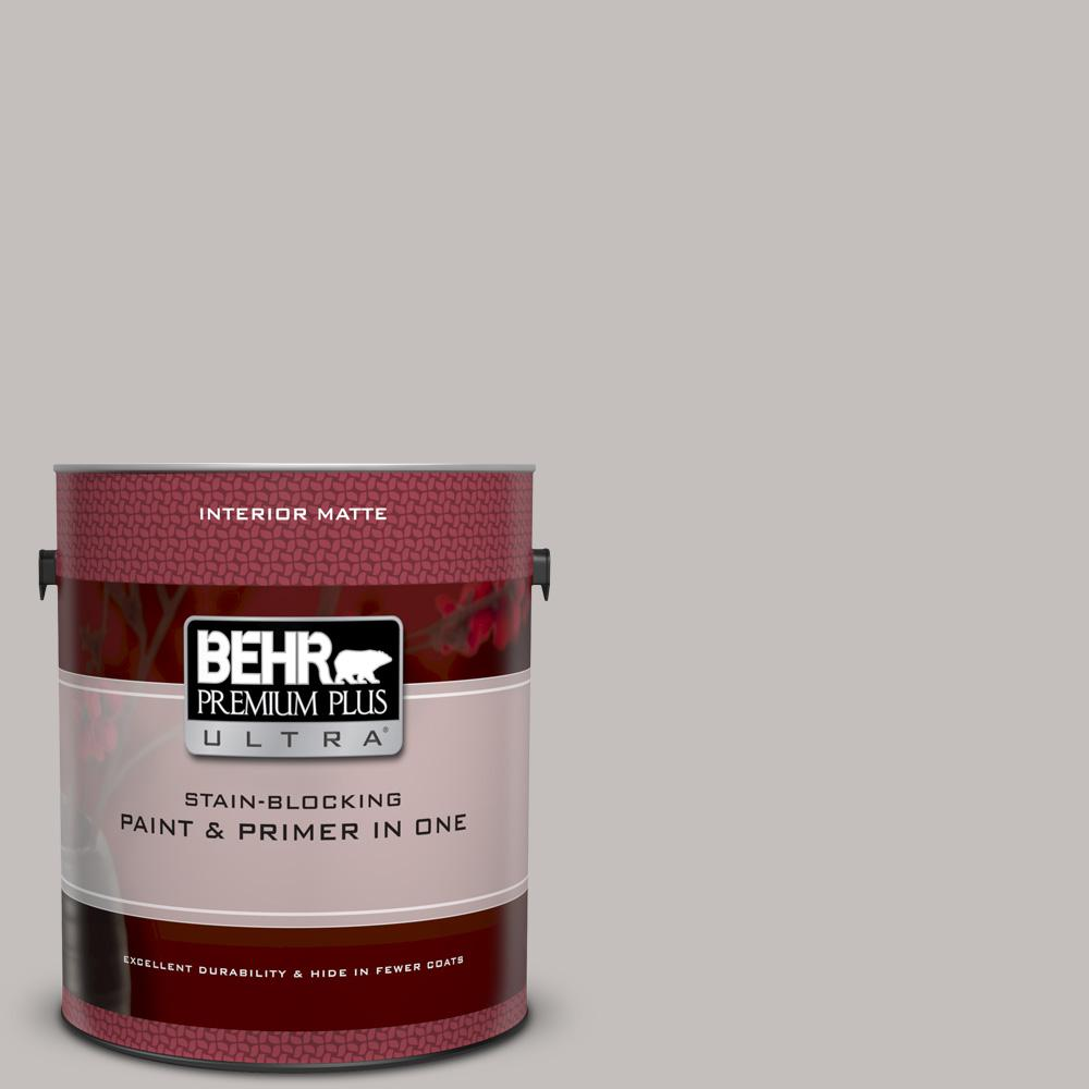 BEHR Premium Plus Ultra 1 gal. #PPU18-10 Natural Gray Matte Interior Paint and Primer in One