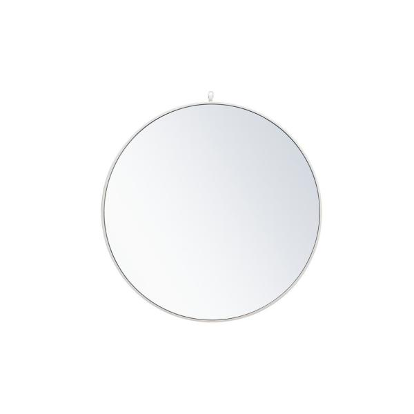 Medium Round White Modern Mirror (36 in. H x 36 in. W)