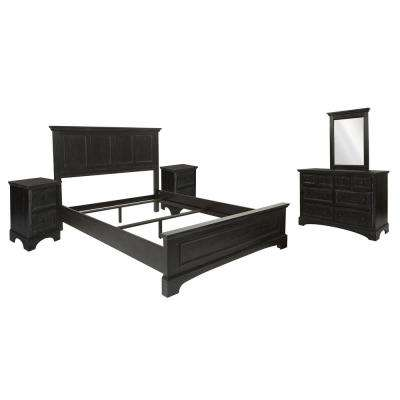 Farmhouse Basics Rustic Black 8-Pieces Queen Bedroom Set with 2-Nightstands and 1-Dresser with Mirror