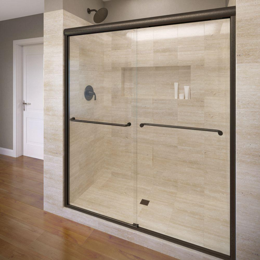 Basco Celesta 48 In X 71 1 4 In Semi Frameless Sliding Shower Door In Oil Rubbed Bronze With Aquaglidexp Clear Glass Celh05a4871xpor The Home Depot