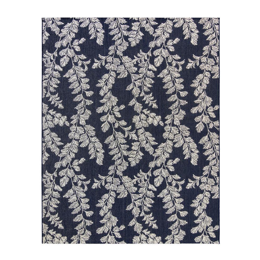 Waxham Navy/Pearl 8 ft. x 10 ft. Floral Indoor/Outdoor Area Rug
