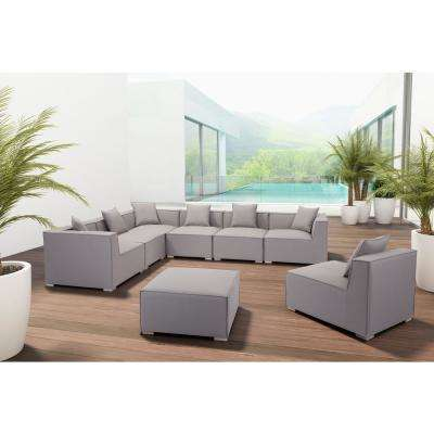 Fiji Aluminum Outdoor Ottoman with Gray Cushion