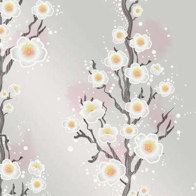 Cynthia Rowley for Tempaper Cherry Blossoms Silver Self-Adhesive Removable Wallpaper