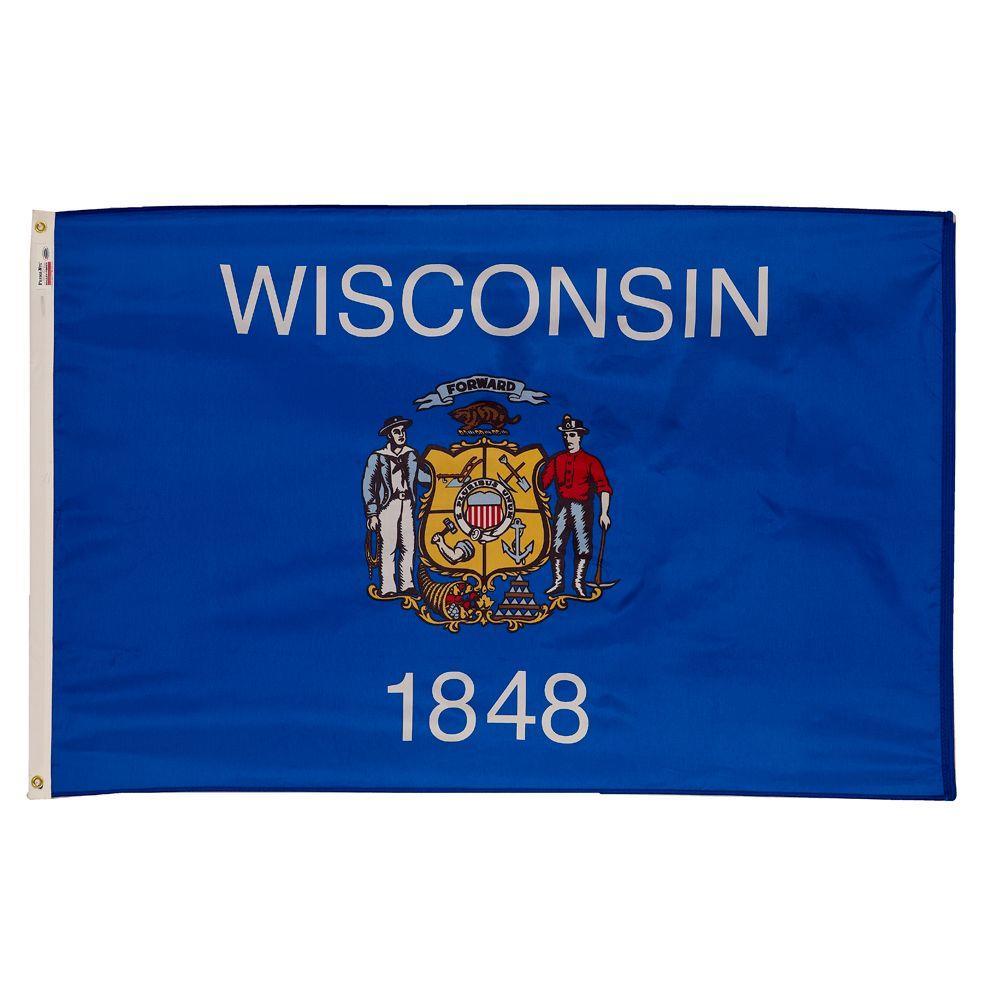 3 ft. x 5 ft. Nylon Wisconsin State Flag