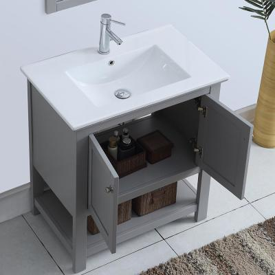 Bradford 30 in. W Traditional Bathroom Vanity in Gray with Ceramic Vanity Top in White with White Basin