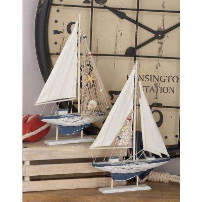 Sailing Boat Wooden Sculptures (Set of 2)