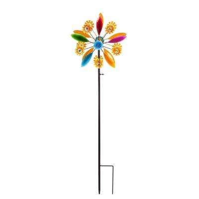 Yellow Flowers Kinetic Wind Spinner Topper