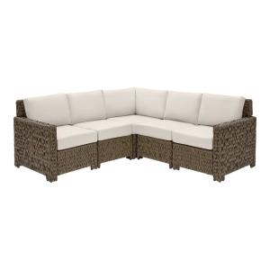 Laguna Point 5-Piece Brown Wicker Outdoor Patio Sectional Sofa Set with CushionGuard Almond Tan Cushions