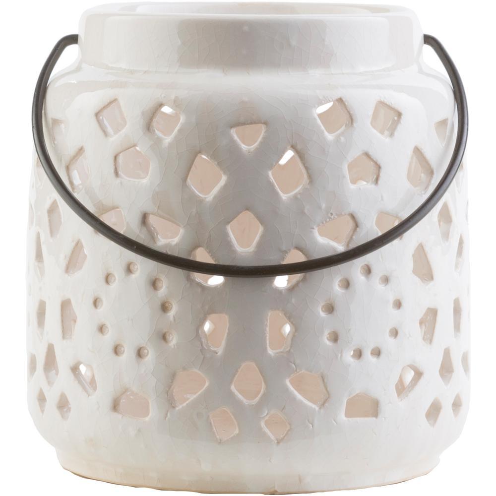 Super Artistic Weavers Kimba 6.5 in. White Ceramic Lantern-S00151052011  EX84