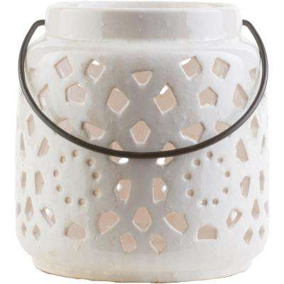Kimba 6.5 in. White Ceramic Lantern