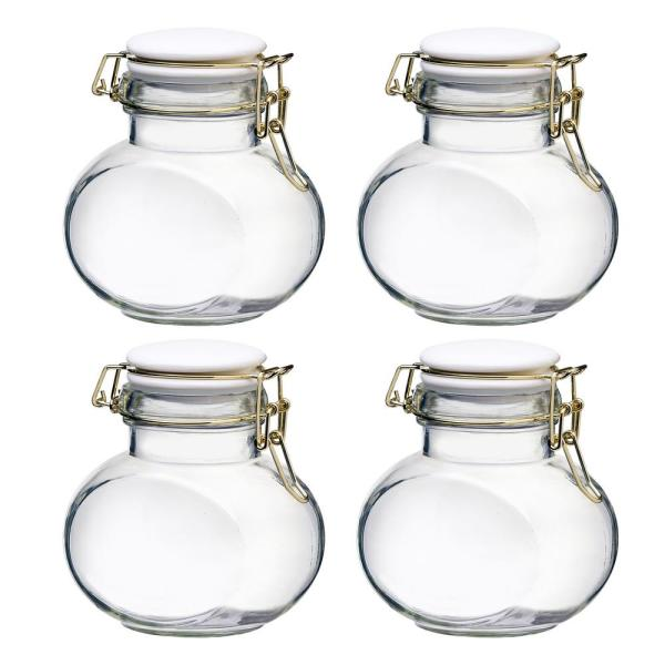 Amici Home Phoebe 16 oz. 4-Piece Glass Hermetic Mini Canister Set