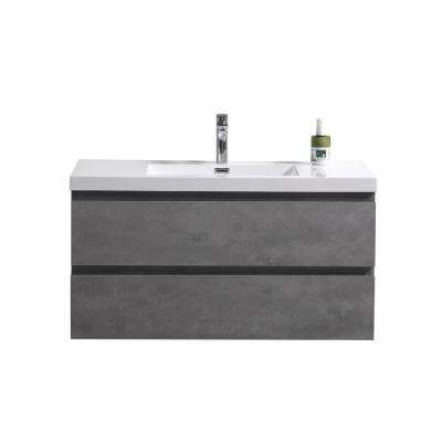 Bohemia 42 in. W Bath Vanity in Cement Gray with Reinforced Acrylic Vanity Top in White with White Basin