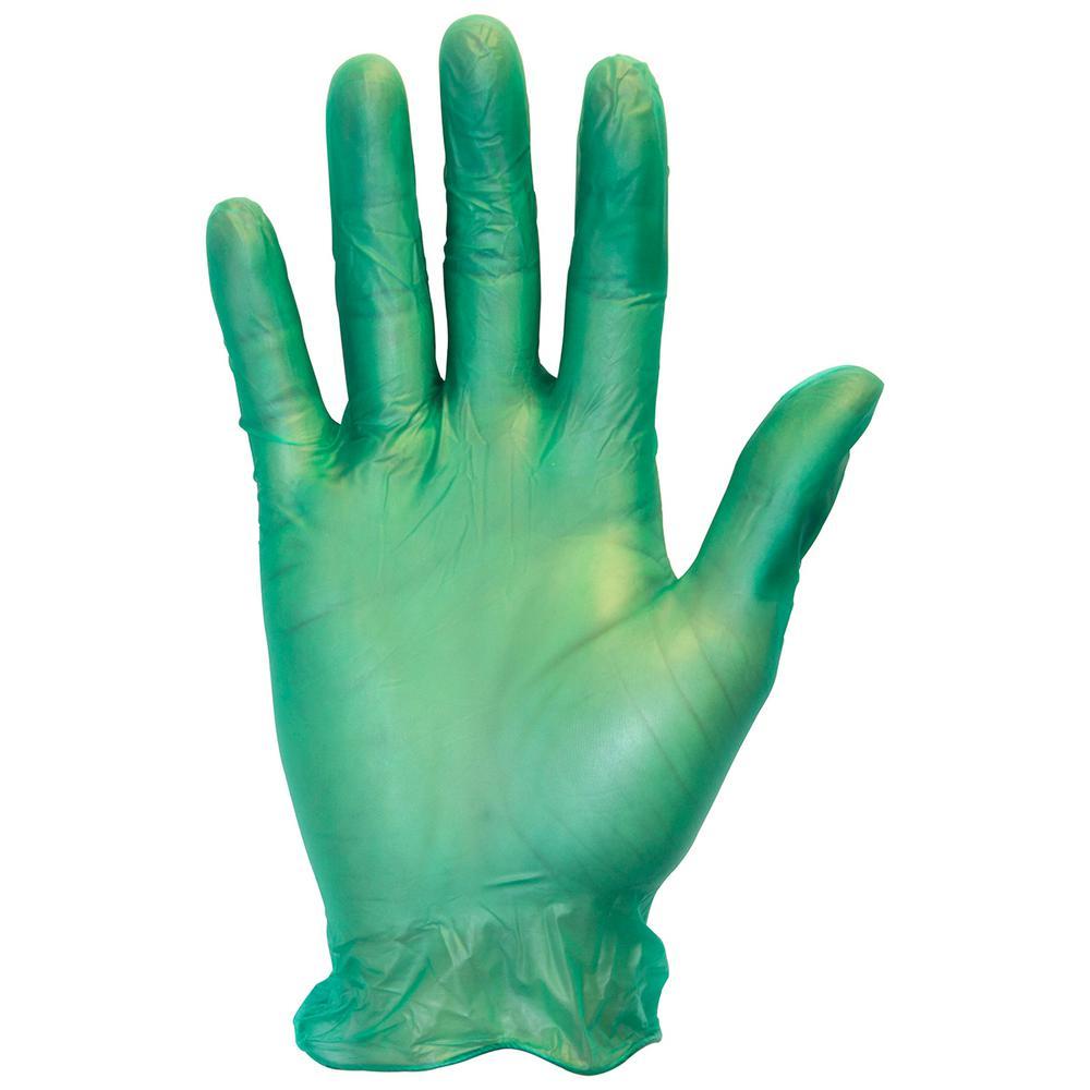 Large Green Heavy-Duty 6.5 Mil Disposable Vinyl Gloves Bulk 400 (4-Packs of 100-Count)