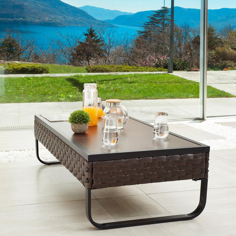 U-Leg Dark Brown Rectangular Metal Outdoor Coffee Table