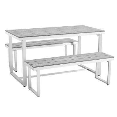 All-Weather Grey Aluminum Outdoor Dining Set (3-Piece)