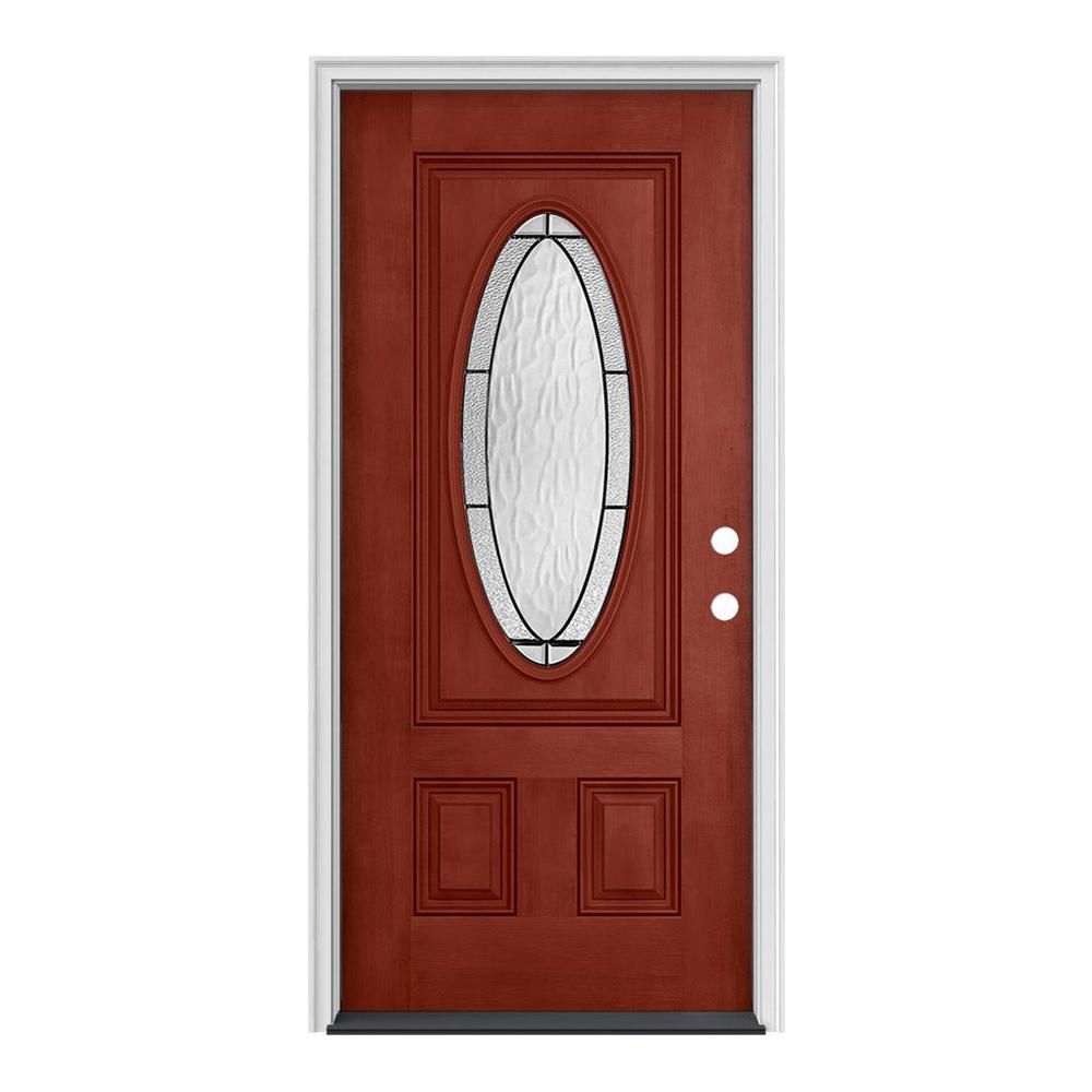 JELD-WEN 36 in. x 80 in. 3/4 Oval Lite Wendover Black Cherry Stained Fiberglass Prehung Left-Hand Inswing Front Door