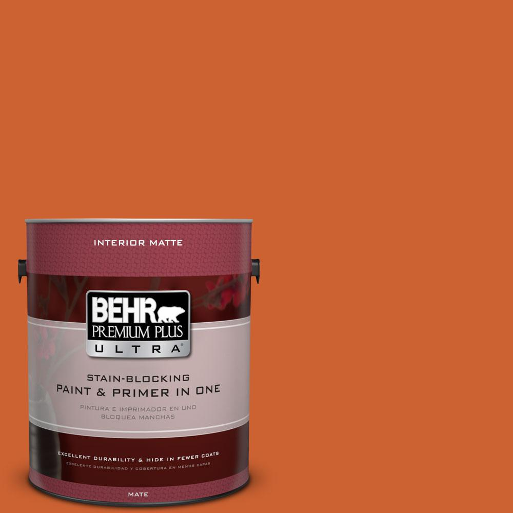 BEHR Premium Plus Ultra 1 gal. #S-H-250 Pumpkin Patch Flat/Matte Interior Paint