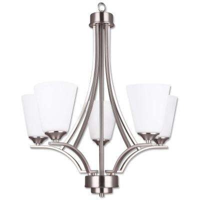 Seattle 5-Light Chandelier Satin Nickel Frame with Opal Glass Shade